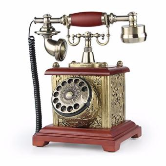 LNC Brown Solid Wood Resin Retro Vintage Antique Style Rotary DialDesk Telephone Phone Living Room Decor