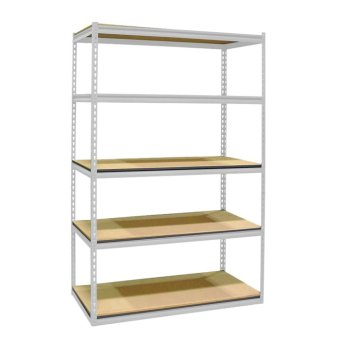Longlife(TM) 5 Layer/4 Tier Boltless Adjustable Rack with SlottedPosts & Laminated Wooden Shelving, Convertible to Work Bench(OFF WHITE)