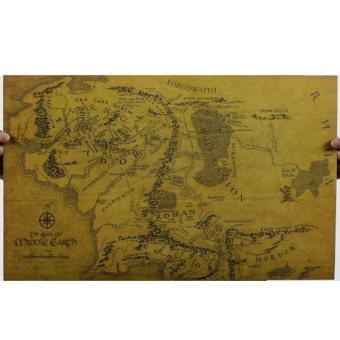 Lord of the Rings Middle Earth Map Retro Kraft Paper Posters Wall Stickers Room Decor Home Decal Movie Fans Mural Art - intl