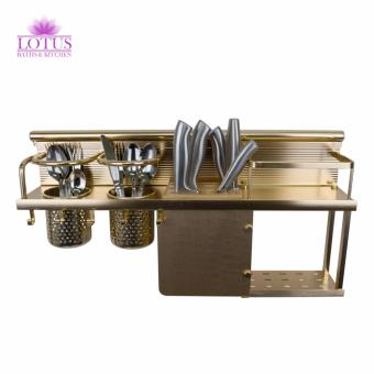 Lotus High Quality Durable Kitchen Rack Knife Rack Wall HangerStorage Rack Organizer with Five Hook Cups GOLD Price Philippines