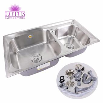 Lotus High Quality Durable Stainless Steel 2 Double Tubs KitchenSink Set 81x43x23