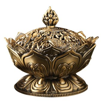 Lotus Shape Aromatherapy Incense Burner Holder Stove Censer Home Decoration Accessories Bronze - intl