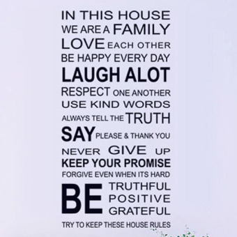 Love Family Rules Removable Decal Art Mural Home Decor Wall Sticker(Black)