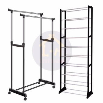 LOVE&HOME DIY2 High Quality Double-Pole Clothes Rack (Silver) With High Quality Amazing Shoe Rack (Black)