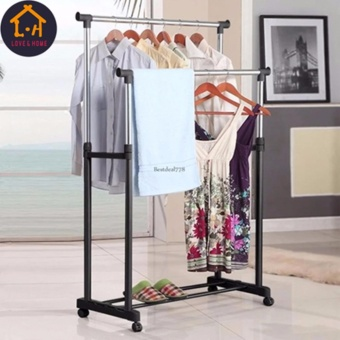 LOVE&HOME DIY2 New Double Rolling Rail Adjustable Portable Clothes Garment Rack Hanger