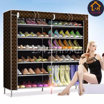 LOVE&HOME High Quality Double Capacity 6 Layer Shoe Rack Shoe Cabinet (Black Stripe) Price Philippines