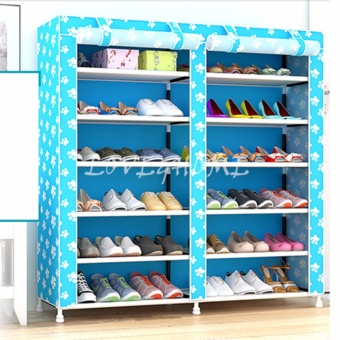 LOVE&HOME High Quality Double Capacity 6 Layer Shoe Rack Shoe Cabinet (Blue Dog)