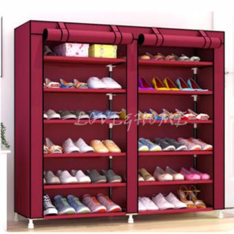 LOVE&HOME High Quality Double Capacity 6 Layer Shoe Rack Shoe Cabinet (Red) Price Philippines