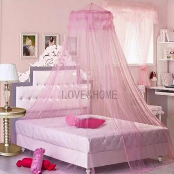LOVE&HOME Mosquito Net Bed Canopy King/Queen Size (Pink)