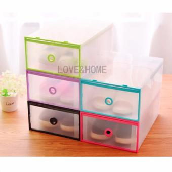 LOVE&HOME Multi-use Foldable Plastic Transparent Drawer Case Shoe Storage Organizer Stackable Box Set of 5 (Multicolor)