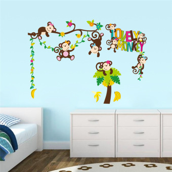 lovely monkeys wall stickers for kids gift nursery room decorremovable animals pvc home decals safari mural art 1217. - Intl Price Philippines