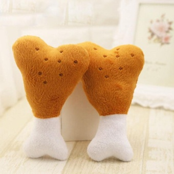 Lovely Pet Dog Squeaker Toys Puppy Chew Squeaky Sound Plush ChickenDrumstick Design Toy For Small Dogs Pets Style:Single Bones - intl