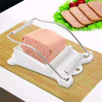 Luncheon Meat Slicer Yummy Sam Cheese Slicer Boiled Egg SlicerFruit Slicer Soft Food Slicer Sushi Cutter Canned Meat Slicer with10 Cutting Wire in Stainless Steel - intl