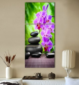 Luxry 3 Panel Modern Abstract Flower Painting On Canvas Wall ArtCuadros orchid Flowers Picture Home Decor For Living Room No Fr(Noframe) - 3