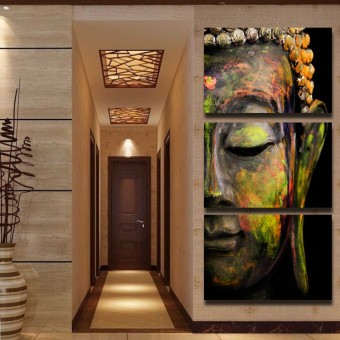Luxry 3 Panel Wall Art Religion Buddha Oil Style Painting printedOn Canvas room Panels For Home Modern Decoration art print(NoFrame)