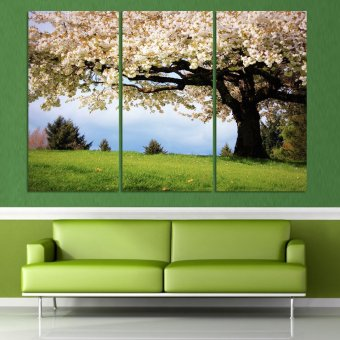 Luxry 3 piece art oil canvas romantic wall art tree picture canvas painting green tree painting Large wall pictures for living (No frame)
