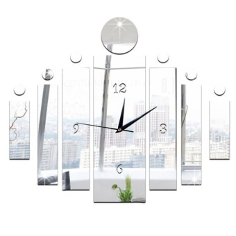 Luxury 3D Mirror Silver Wall Clock Modern Design Home Decor Watch Wall Sticker - intl