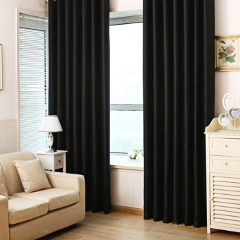 LUXURY THERMAL BLACKOUT CURTAINS WINDOW DOOR CURTAIN PANEL BLACK84*66 Inch UK - intl