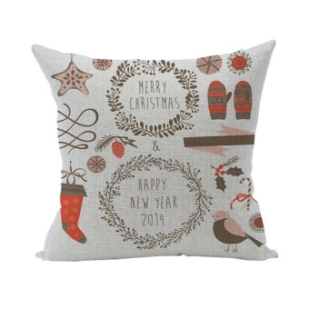 LZ Home Pillowcase Cotton Linen Throw Pillow Covers Decorativecushion Covers 45X45 Christmas - intl