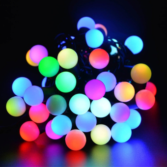 Mabuhay Star LED Ball String Lights with Flashing 16ft 50 LEDs,Color Changing Globe String Light for Holiday Christmas New YearWedding Gardens Lawns Patios Indoor & Outdoor Decoration