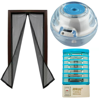 Magic Mesh Instant Screen Door (Black) With Crystal Blue NightLight Air Revitalisor (Blue) With Dinwang 388/DW-777 ElectronMosquito Killer Mini Night Lamp (Blue) Bundle Price Philippines