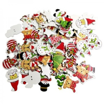 MagiDeal 100 Pieces Mixed Painting Christmas Buttons Decoration Embellishment Craft - intl