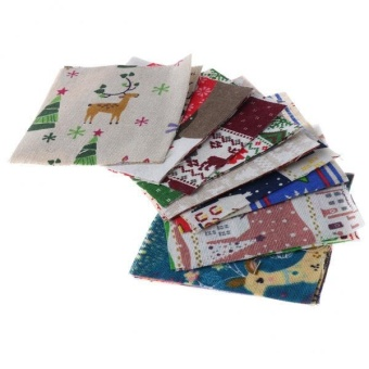 MagiDeal 20pcs Mixed Christmas Pattern Cotton Linen Fabric Squares for DIY Quilting - intl