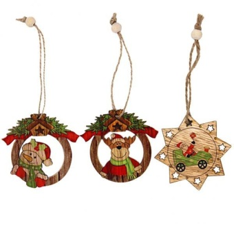 MagiDeal 3pcs Wood Christmas Tree Decoration Xmas Hanging SnowmanDeer Ornament Decor - intl