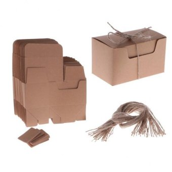 MagiDeal 50 Pieces Kraft Shabby Rustic Candy Gift Boxes with Rope Tags Wedding Favors - intl