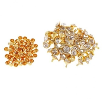 MagiDeal 50 Pieces Rhinestone Rivets Studs Buttons for Sewing Crafts 7mm Gold - intl