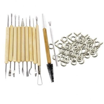 MagiDeal 50 Pieces Screw Eye Pin Jewelry Findings +11 Pieces ClaySculpture Tool Set - intl
