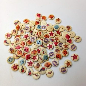 MagiDeal A Box of 100 Pieces Assorted Round Sea Shell Wooden Buttons for Sewing Craft - intl - 5