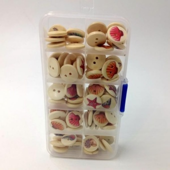 MagiDeal A Box of 100 Pieces Assorted Round Sea Shell Wooden Buttons for Sewing Craft - intl - 3