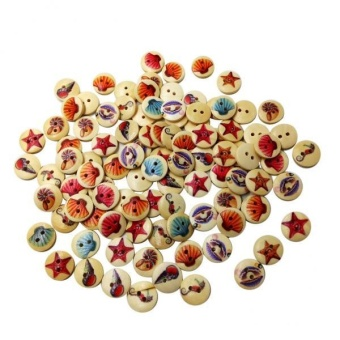 MagiDeal A Box of 100 Pieces Assorted Round Sea Shell Wooden Buttons for Sewing Craft - intl