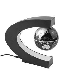 Maglev Floating Rotating Globe Novelty C Shape Color HomeDecoration With Magnetic Suspension Levitation Floating Globe WorldMap LED Light Home Decor Globes Black - 2