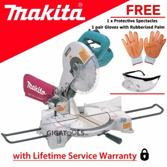 Makita LS1040 Compound Miter Saw (1650W) with Protective Spectaclesand Gloves with Rubberized Palm