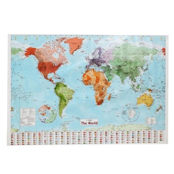Makiyo 97.5 x 67.5cm Large Map of World Poster with Country Flags Wall Stick Chart Political Home Decor Gift - intl