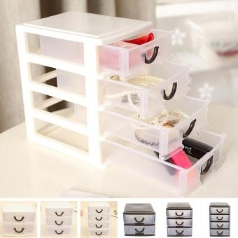 Makiyo Durable Plastic 4 Layers Drawer Storage Case Pratical Desktop Cosmetics Jewelry Watch Organizer Holder Box - intl - 4