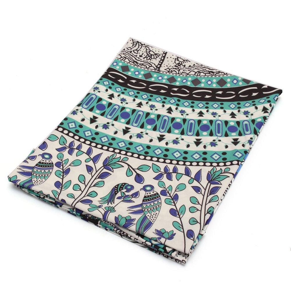 Mandala Flowers Round Wall Hanging Cloth Beach Towel Picnic Blanket Shawl Mat Blue .