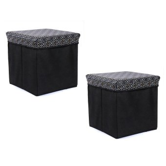 Manhattan Homemaker Collapsible Stool with Storage French EleganceSet of 2 (Black)