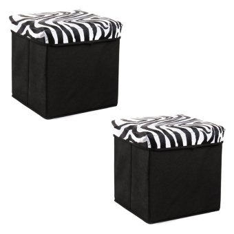 Manhattan Homemaker Collapsible Stool with Storage SafariMinimalist Set of 2 (White)