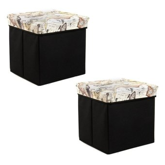 Manhattan Homemaker Collapsible Stool with Storage TravelersEdition Set of 2 (Brown)
