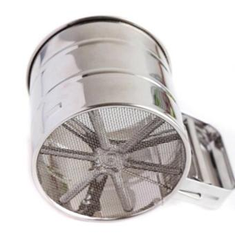 Manual Mesh Flour Sugar Powder Stainless Steel Hand Sifter Sieve Cup Baking Tool - intl
