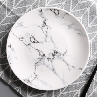 Marble pattern home plate ceramic dish