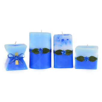 Marzen Mini Scented Candles Set of 4 (Blue)