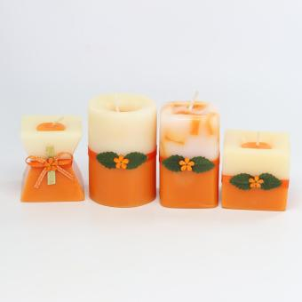 Marzen Mini Scented Candles Set of 4 (Orange)