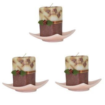 Marzen Mini Tower Scented Candle w/ Plate Set of 3 (Brown)