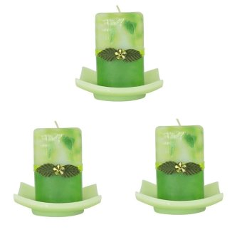 Marzen Mini Tower Scented Candle w/ Plate Set of 3 (Green)
