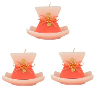 Marzen Sandtimer Mini Scented Candles w/ Plate Set of 3 (Orange)