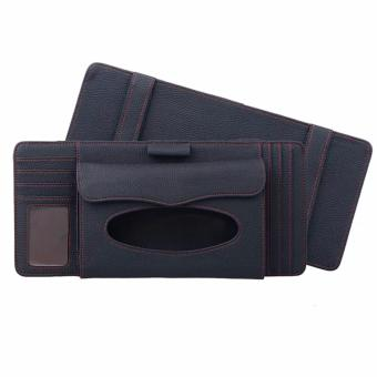 MC Sun Visor Pen CD Card Case Holder Bag Tissue Box Holder (Black)